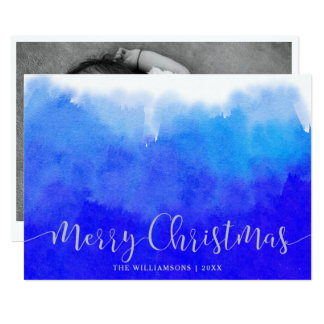 Blue Watercolor and Silver Merry Christmas Photo Card
