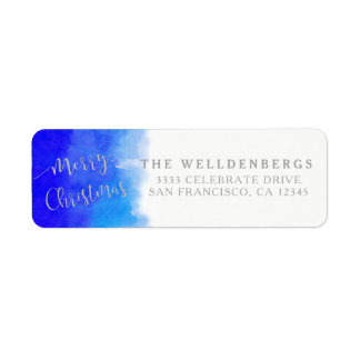 Blue Watercolor and Silver Merry Christmas Return Address Label
