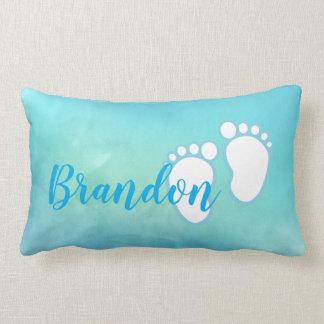 Blue Watercolor Baby feet Footprint Personalized Lumbar Pillow