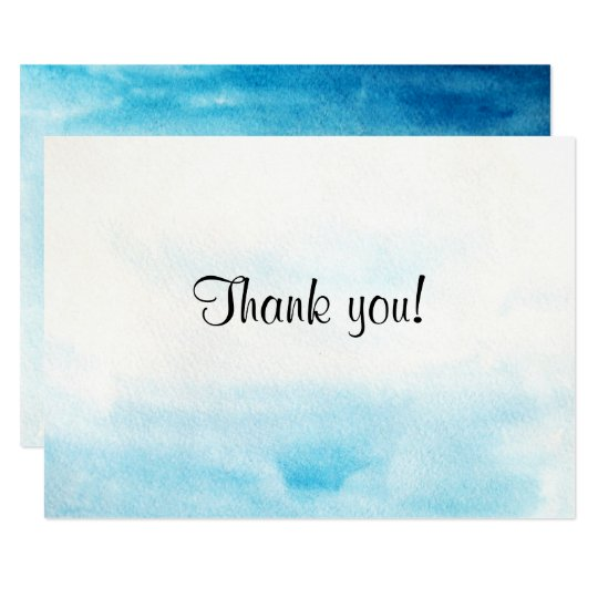 "Blue watercolor background ""Thank you card"" Card"