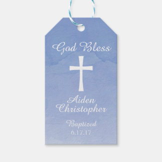 Blue Watercolor Baptism or Communion Gift Tag Pack Of Gift Tags