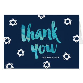 Blue Watercolor Bat Mitzvah Thank You Card