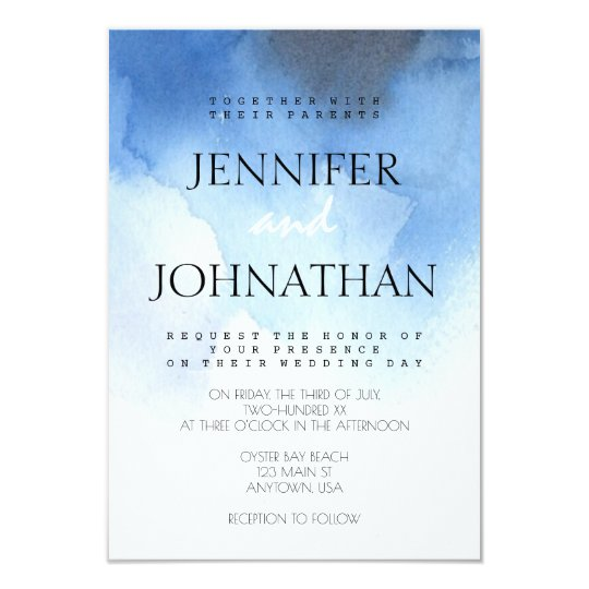 Blue watercolor beach wedding invitations