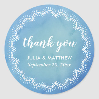 Blue Watercolor Bohemian Chic Thank You Wedding Classic Round Sticker