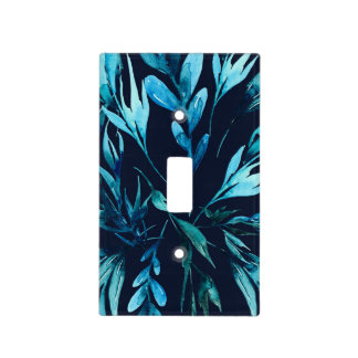 Blue Watercolor Botanical Elegant Chic Floral Light Switch Cover