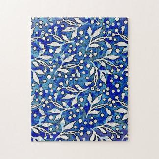 Blue Watercolor Botanical Pattern Jigsaw Puzzle