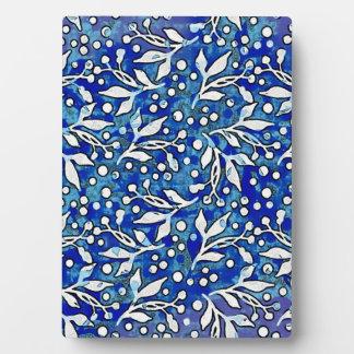 Blue Watercolor Botanical Pattern Plaque