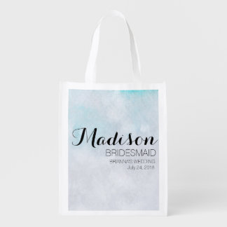 Blue Watercolor Bridesmaid Totebag Template Grocery Bag