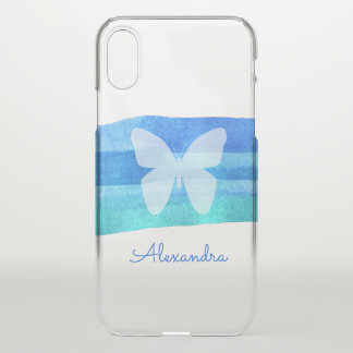 Blue Watercolor Butterfly Personalized iPhone X Case