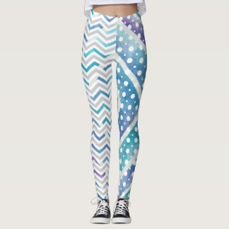 Blue watercolor chevron, polka dot leggings