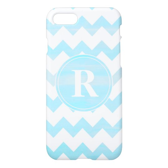 Blue Watercolor Chevron Zigzag Pattern Monogram iPhone 7 Case