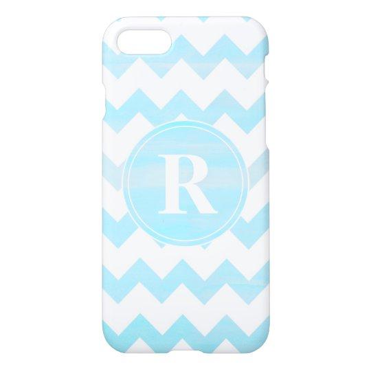 Blue Watercolor Chevron Zigzag Pattern Monogram iPhone 8/7 Case