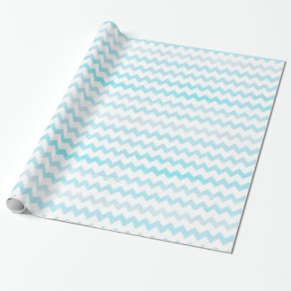 Blue Watercolor Chevron Zigzag Pattern Monogram Wrapping Paper