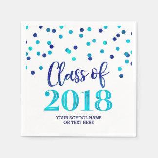 Blue Watercolor Confetti Class of 2018 Graduation Disposable Napkins