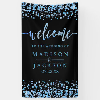 Blue Watercolor Confetti Dots Wedding Welcome Banner