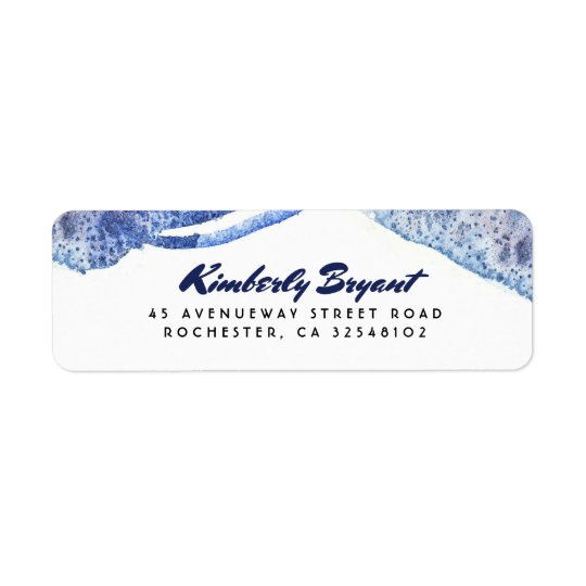 Blue Watercolor Crystal Modern Wedding Return Address Label