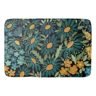 Blue watercolor daisies, daisies bath mat