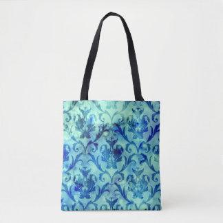 Blue Watercolor Damask Tote Bag