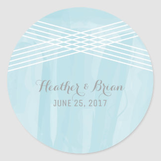 Blue Watercolor Deco Wedding Round Sticker