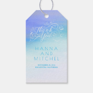Blue Watercolor Elegant Typography Thank You Gift Tags