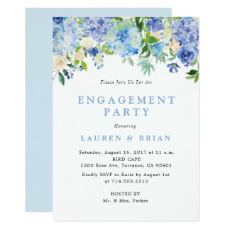 Blue Watercolor Engagement Party Invitation