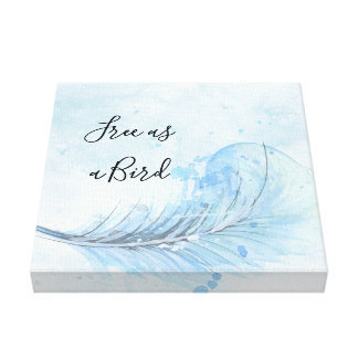 Blue watercolor feather custo Free as a bird quote Canvas Print