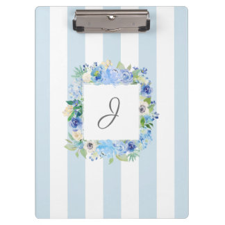 Blue Watercolor Floral and Stripes with Monogram Clipboard