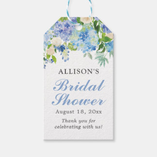 Blue Watercolor Floral Bridal Shower Gift Tags Pack Of Gift Tags