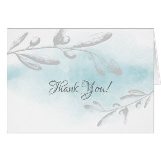 Blue Watercolor Floral Bridal Shower Thank You Card
