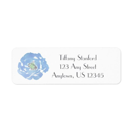 Blue Watercolor Floral   Personalized Return Address Label