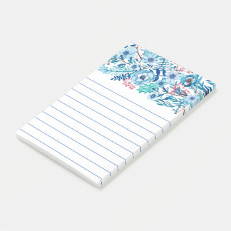 Blue Watercolor Floral Post-it Notes