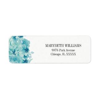Blue Watercolor Floral Return Address Label