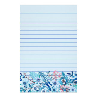 Blue Watercolor Floral Stationery