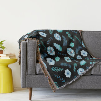 Blue Watercolor Floral Throw Blanket