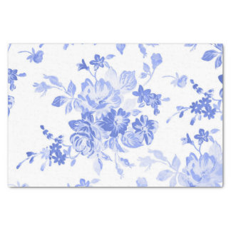Blue Watercolor Floral Tissue Paper