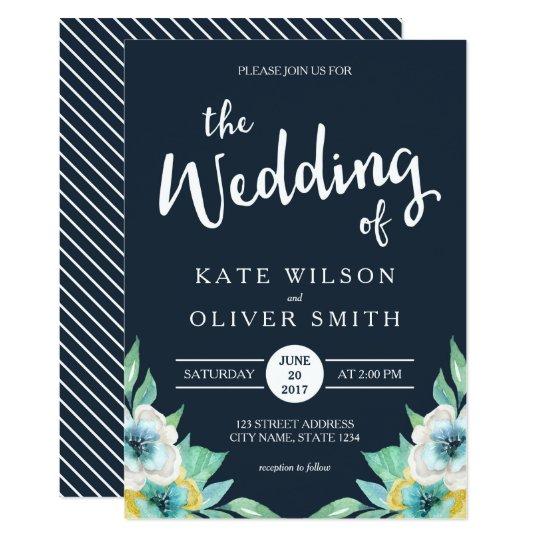Blue Watercolor Floral Wedding Invitation