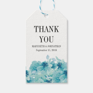 Blue Watercolor Floral Wedding Thank You Gift Tag