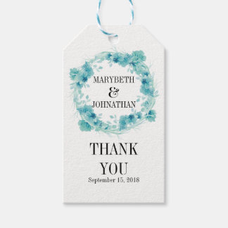 Blue Watercolor Floral Wedding Thank You Gift Tag Pack Of Gift Tags
