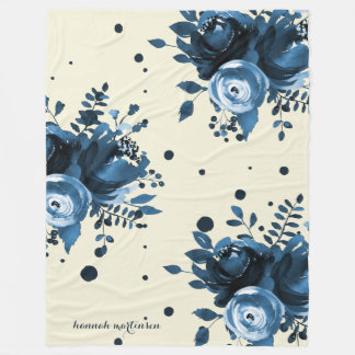 Blue Watercolor Floral with Dots and Add Name Fleece Blanket