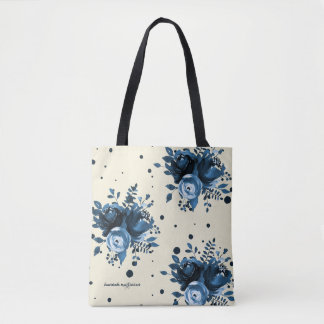 Blue Watercolor Floral with Dots and Add Name Tote Bag