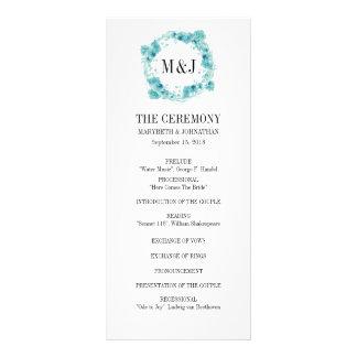 Blue Watercolor Floral Wreath Wedding Program