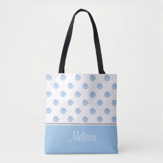 Blue Watercolor Flower Blossoms | Personalized Tote Bag