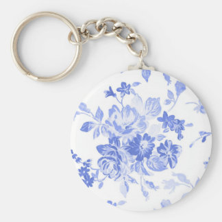 Blue Watercolor Flowers Basic Round Button Keychain
