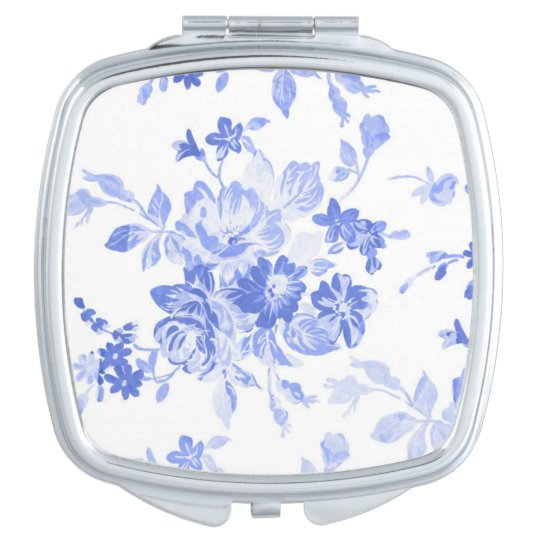 Blue Watercolor Flowers Compact Mirrors
