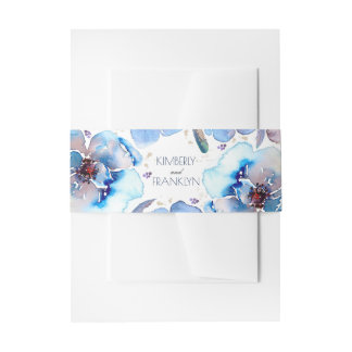 Blue Watercolor Flowers Feathers Romantic Wedding Invitation Belly Band