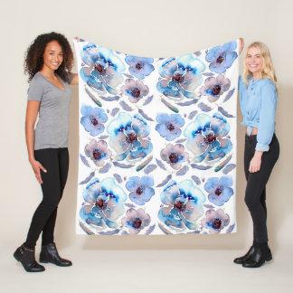 Blue Watercolor Flowers Fleece Blanket