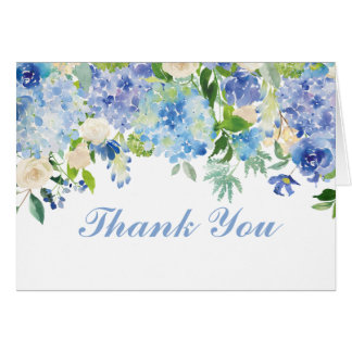 Blue Watercolor Flowers Thank You Note Card
