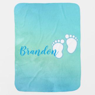 Blue Watercolor Footprint Baby Feet Name Baby Blanket