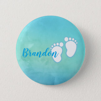 Blue Watercolor Footprint Little Baby Feet Name 2 Inch Round Button