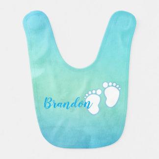Blue Watercolor Footprint Little Baby Feet Name Bib